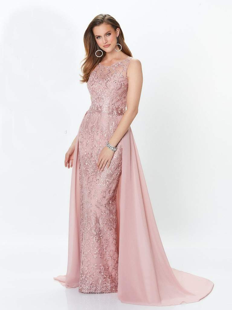 Mon Cheri - Montage by Mon Cheri - Lace Embellished Two-Piece Column Gown 119940 In Pink