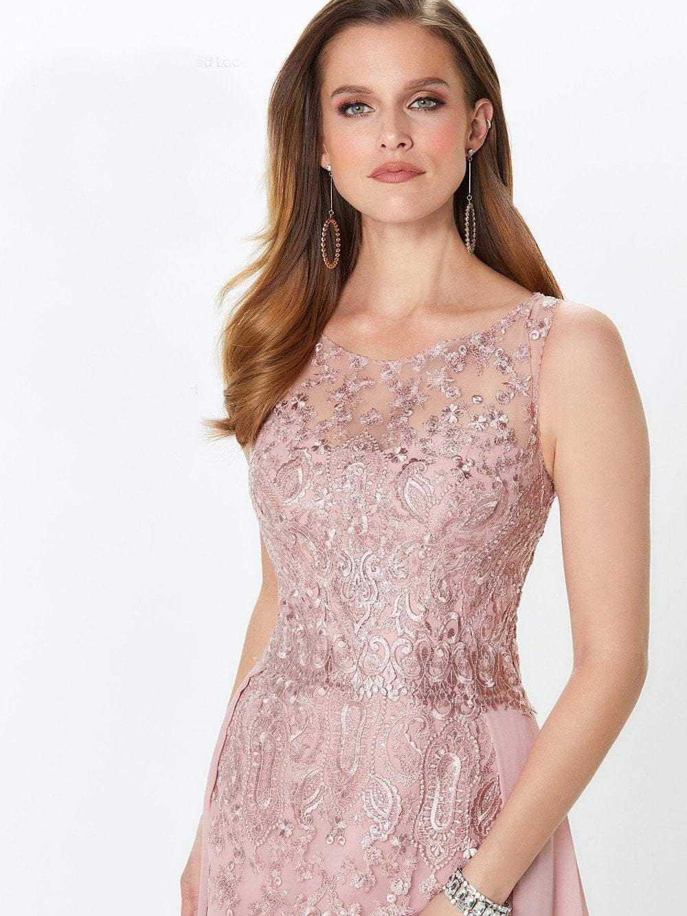 Montage by Mon Cheri - 119940 Lace Embellished Two-Piece Column Gown In Pink