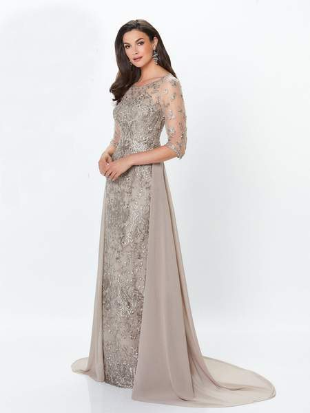 Montage by Mon Cheri - Lace Embellished Two-Piece Column Gown 119940 - 1 pc Latte in Size 14 Available CCSALE 14 / Latte