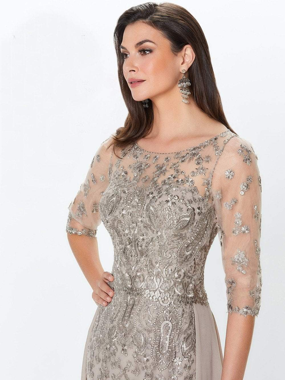 Montage by Mon Cheri - 119940 Lace Embellished Two-Piece Column Gown In Netural and Silver