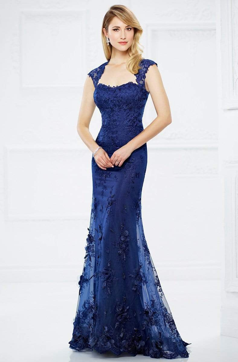 Montage by Mon Cheri - 217934 Lace Queen Anne Dress Evening Dresses 4 / Sapphire