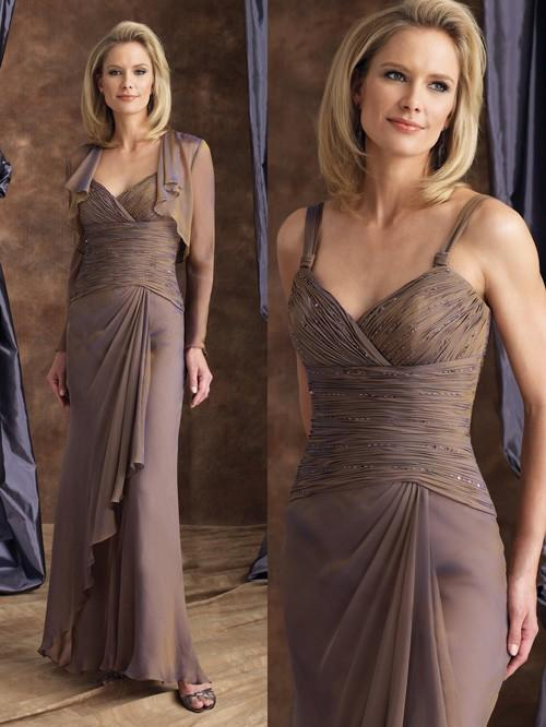 Montage by Mon Cheri - 28914 Ruched V Neck Evening Dress In Brown
