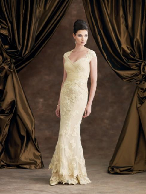 Montage by Mon Cheri - 29973 Queen Anne Style Neckline Evening Dress In Neutral