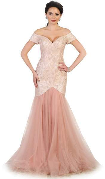 May Queen - V-neck/Off-Shoulder Mermaid Evening Dress MQ1495 In Pink