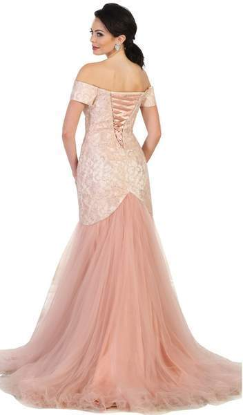 May Queen - MQ1495SC Off-Shoulder Tulle Mermaid Gown
