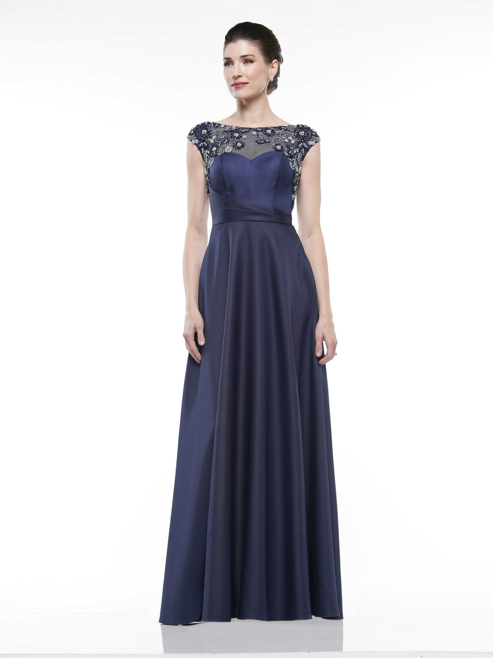 Marsoni By Colors - Cap Sleeve Beaded Illusion Bateau Satin Gown MV1005 In Blue