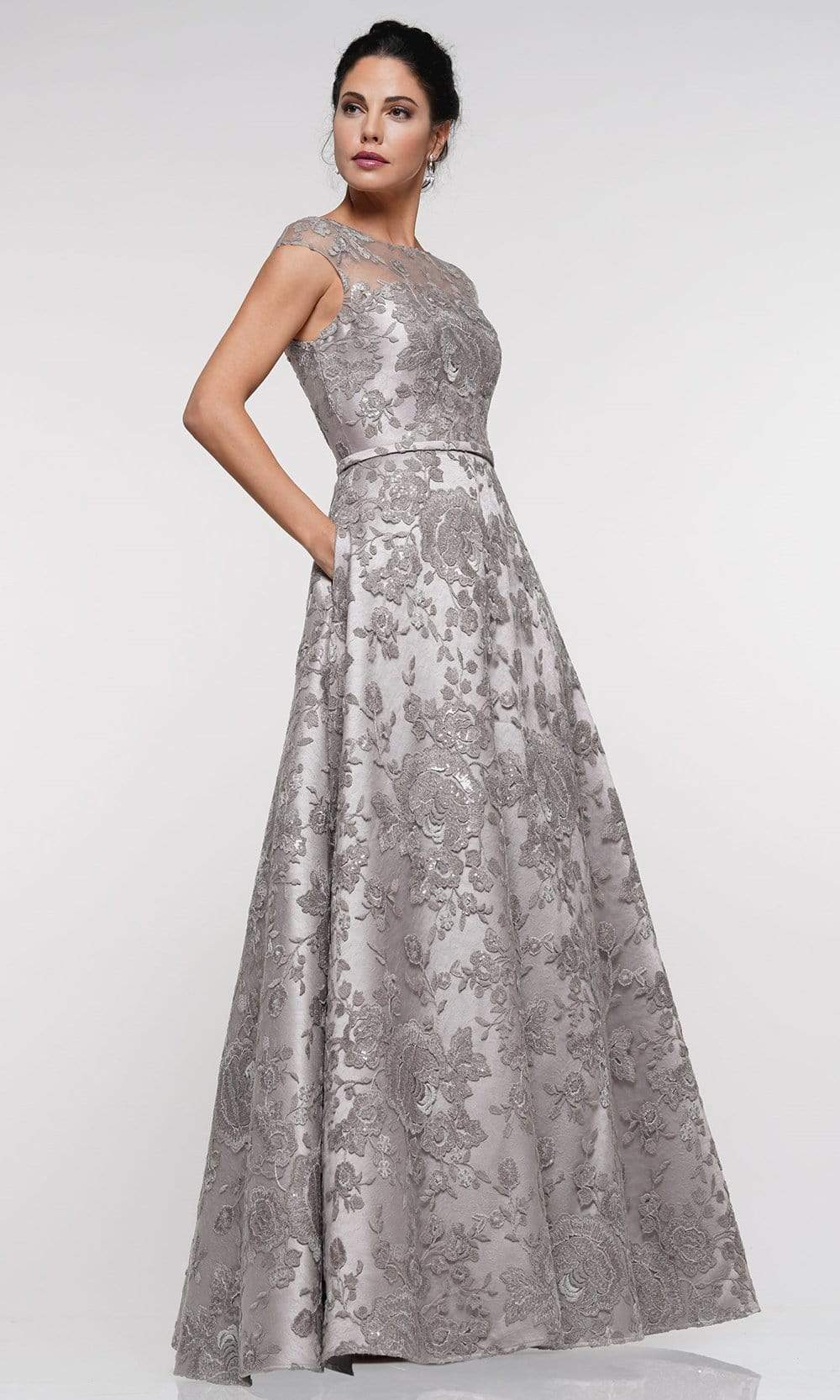Marsoni By Colors - MV1012 Sequined Rosette Embroidered Long Gown Mother of the Bride Dresses 4 / Taupe