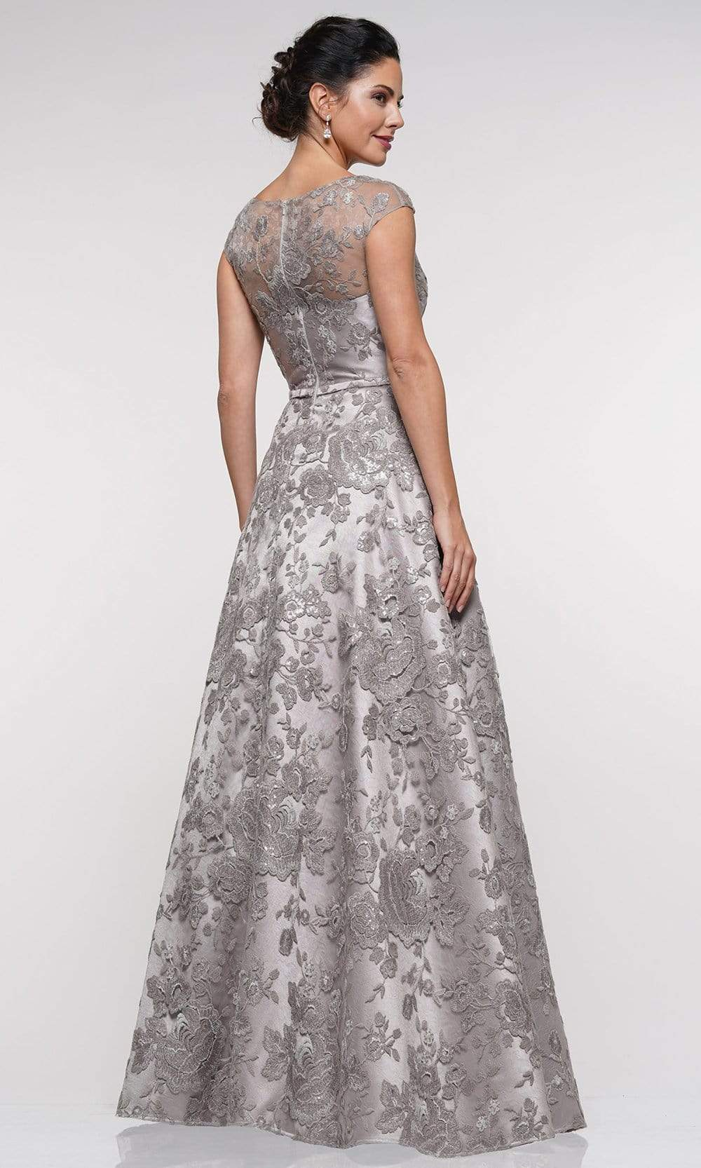 Marsoni By Colors - MV1012 Sequined Rosette Embroidered Long Gown Mother of the Bride Dresses