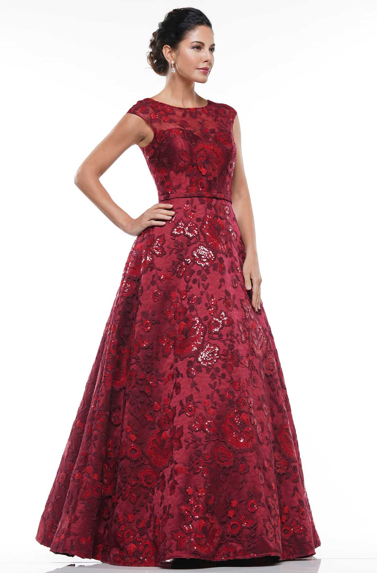 Marsoni By Colors - MV1012 Sequined Rosette Embroidered Long Gown Mother of the Bride Dresses 4 / Wine