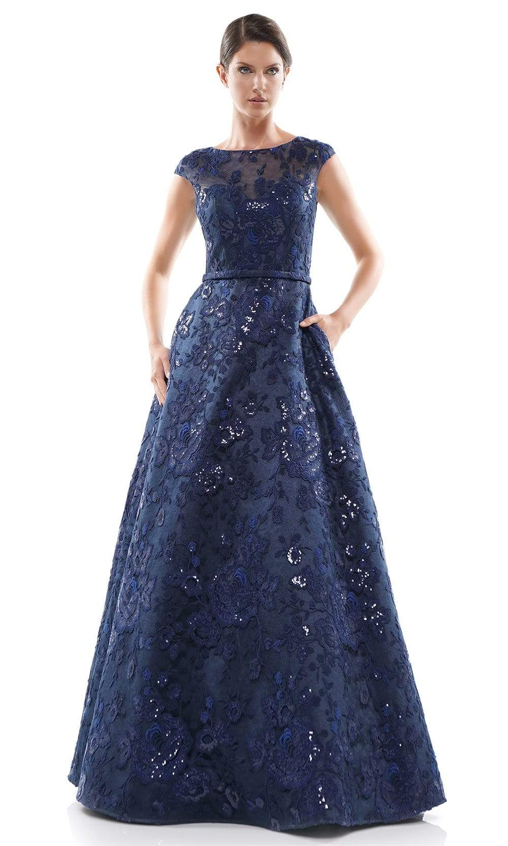 Marsoni By Colors - MV1012 Sequined Rosette Embroidered Long Gown Mother of the Bride Dresses 4 / Navy