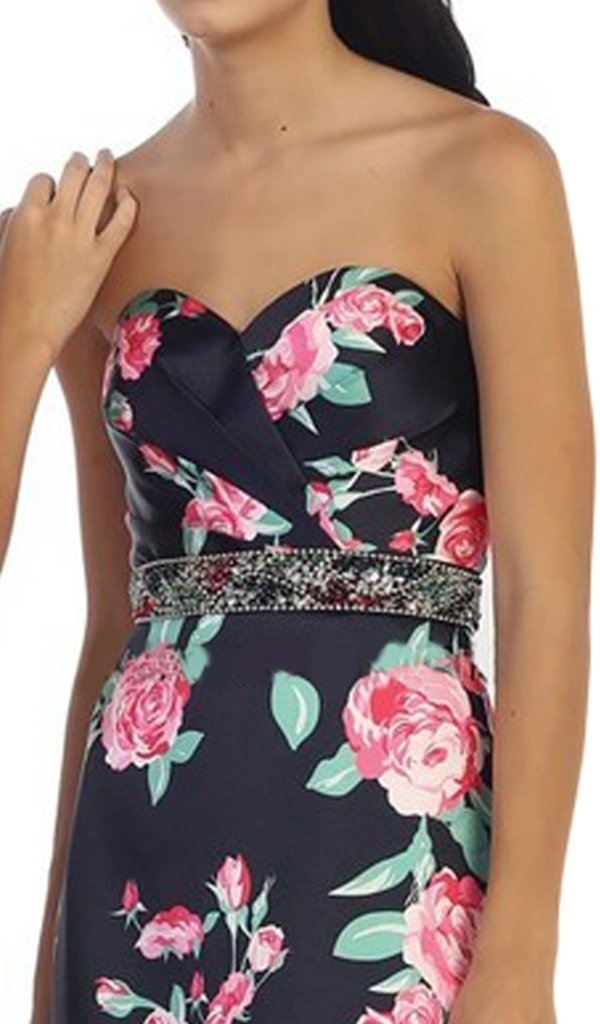 May Queen - Strapless Floral Print Evening Gown MQ1403 In Blue and Pink