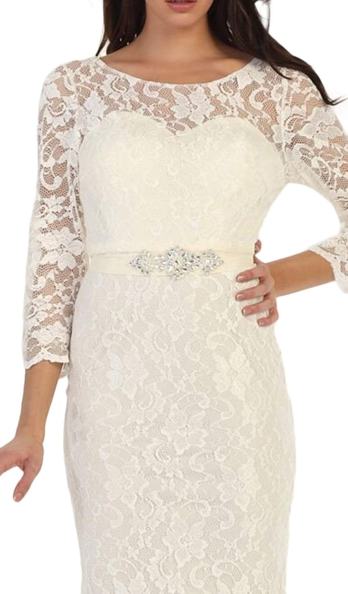 May Queen - MQ1454SC Lacey Quarter Sleeve Formal Long Dress