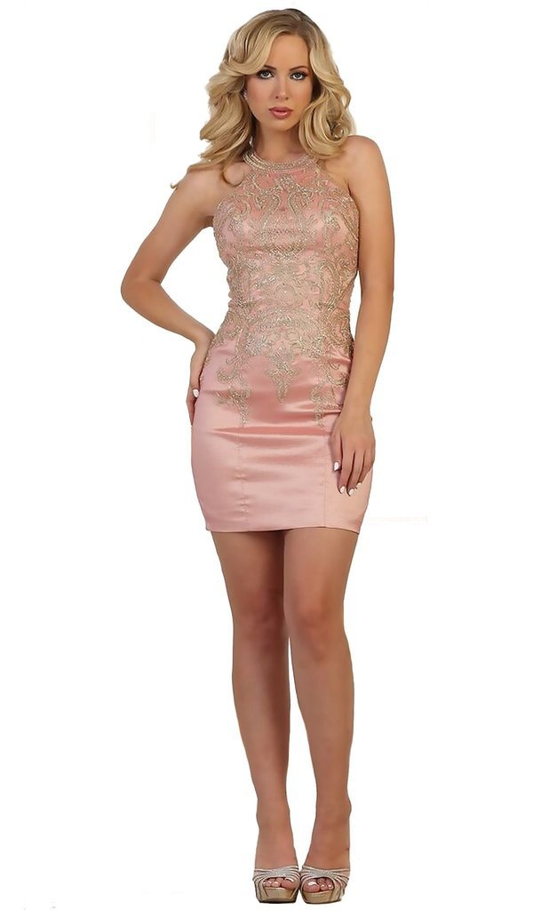 May Queen - Lace Appliqued Halter Sheath Cocktail Dress In Pink