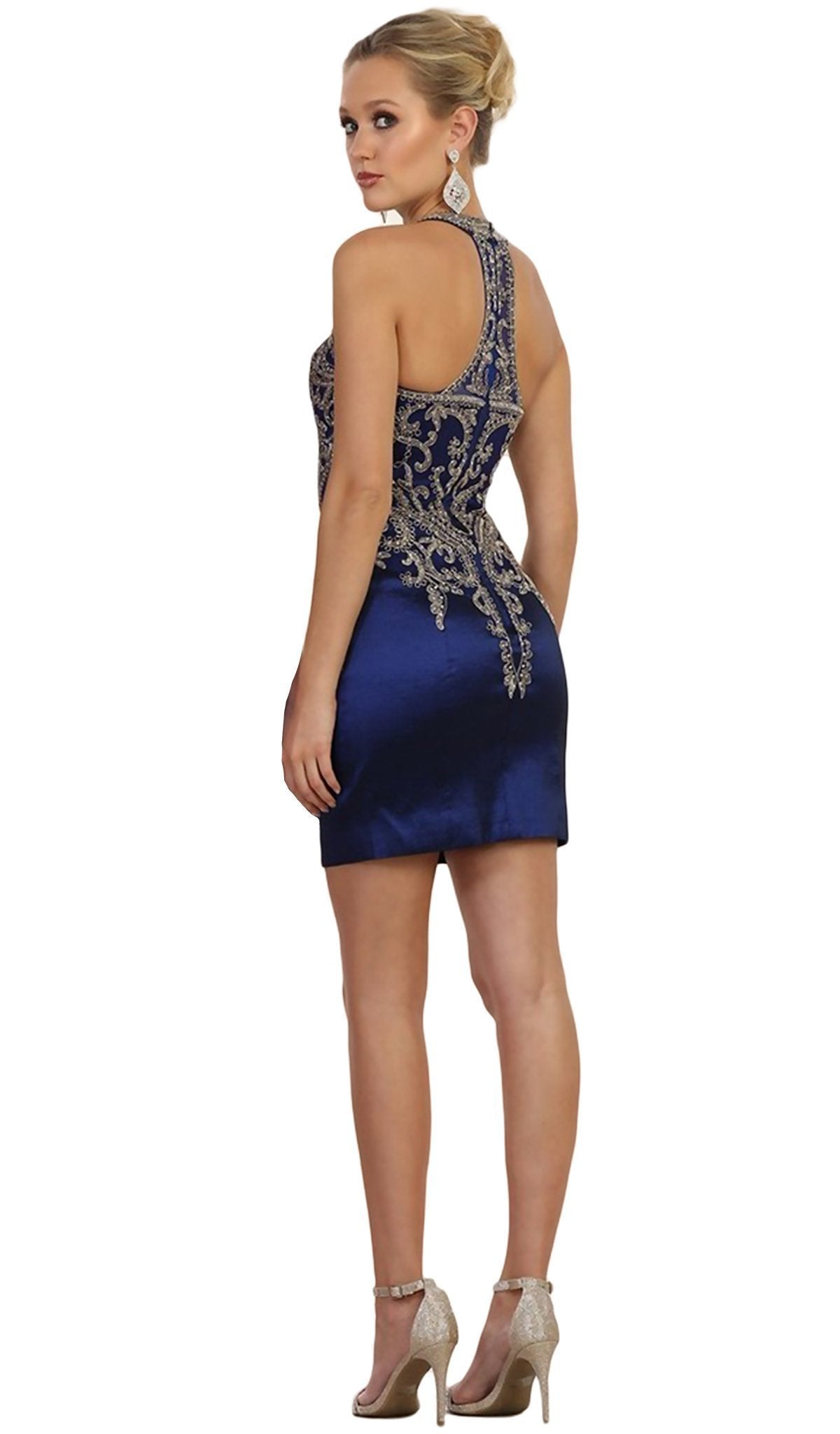May Queen - Lace Appliqued Halter Sheath Cocktail Dress in Blue