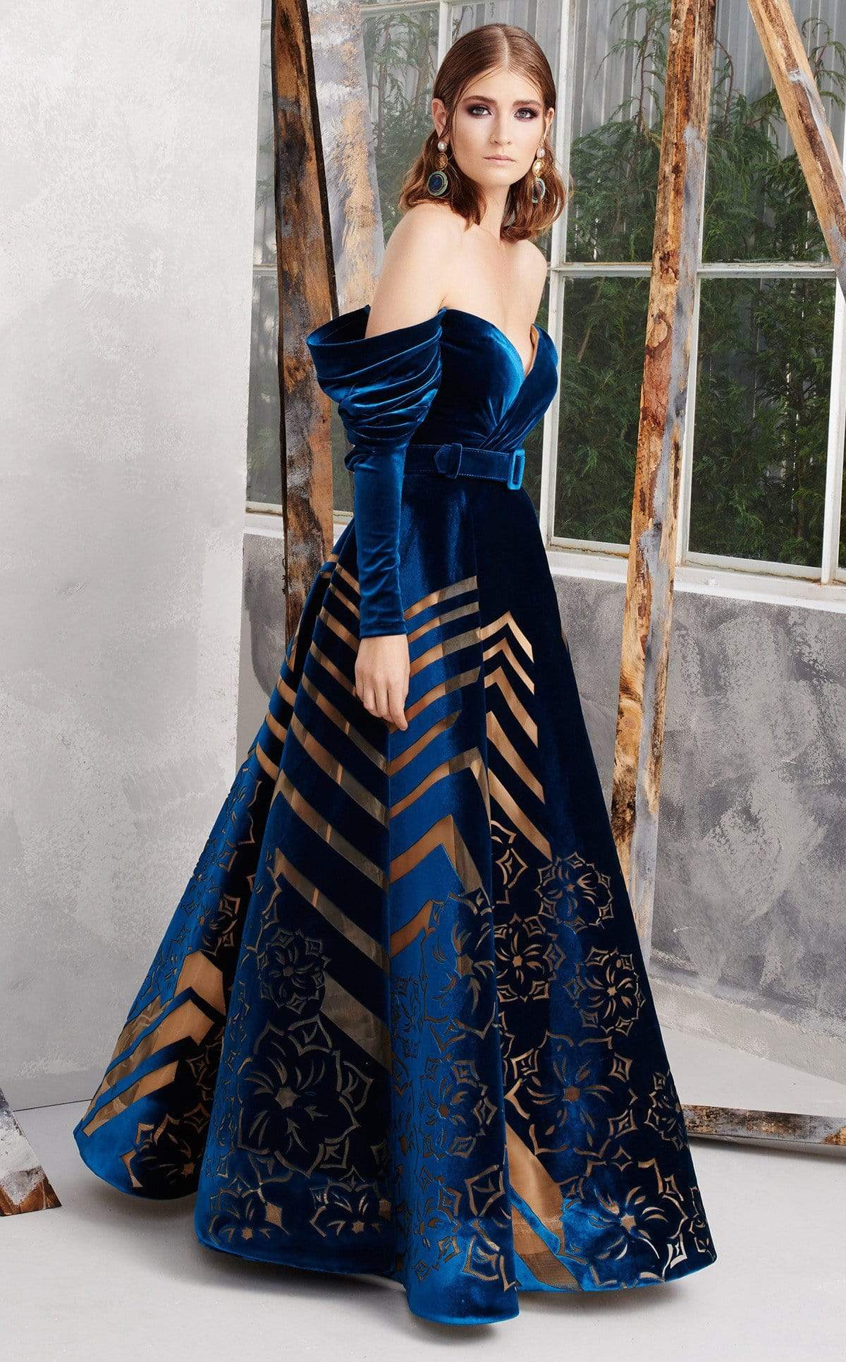 MNM COUTURE - N0279 Draping Off Shoulder Illusion Cutout Gown In Blue