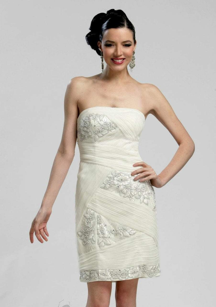 Sue Wong - N3206 Strapless Straight Neck Fitted Dress in White