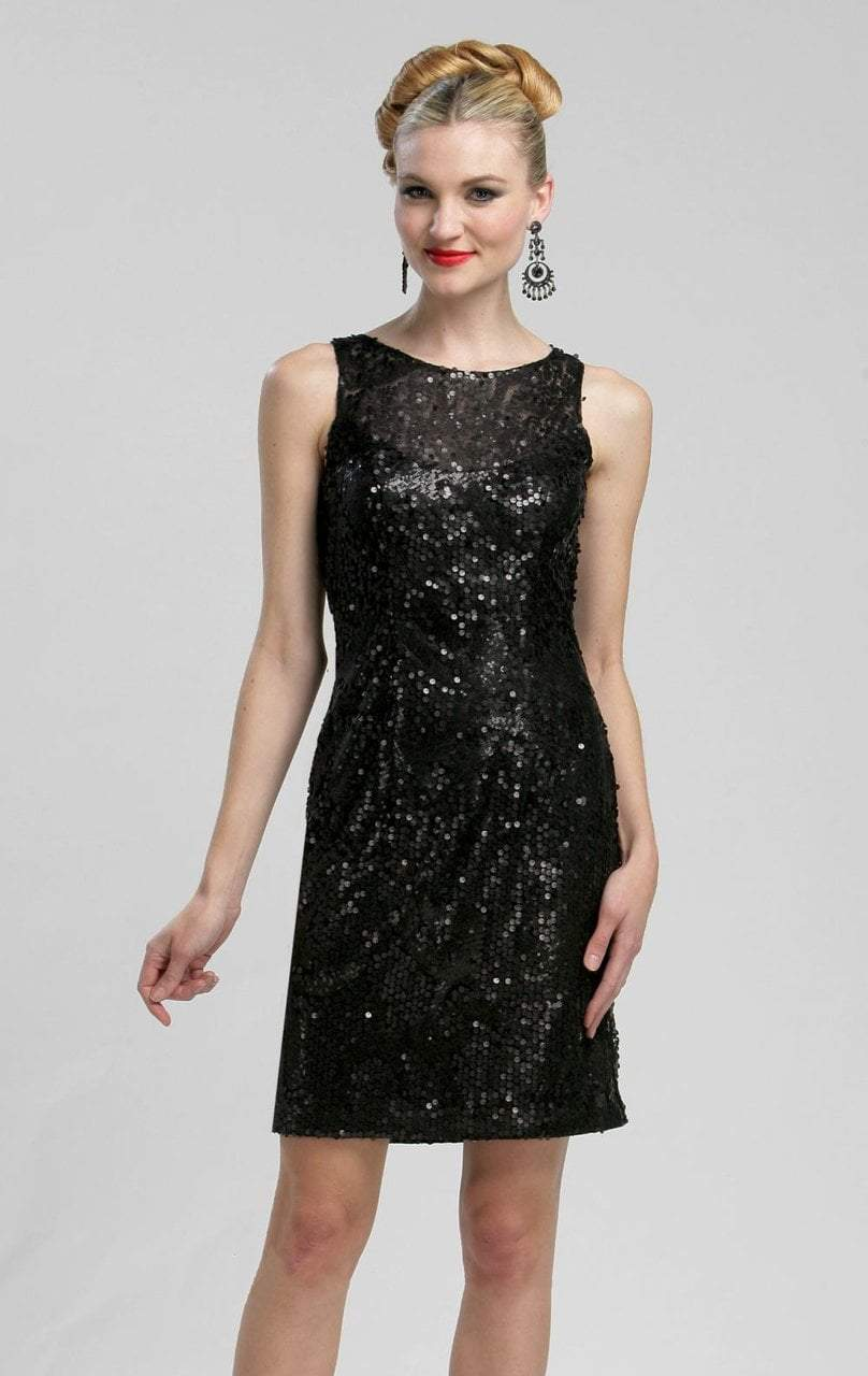 Sue Wong - N3211 Sleeveless Jewel Illusion Sequined Sheath Dress in Black