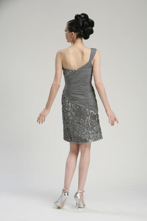 Sue Wong - N3330 One Shoulder Sequined Sheath Dress in Gray