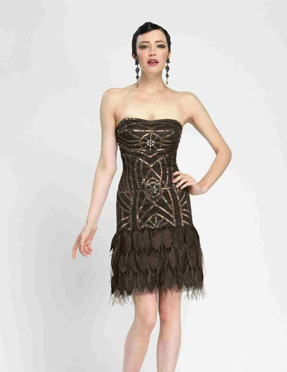Sue Wong - N3449 Beaded Strapless Feather Cocktail Dress in Brown