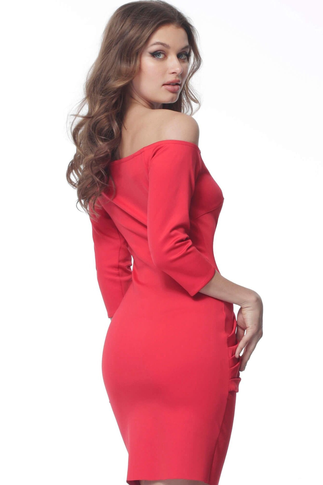 Jovani - 68417 Off-Shoulder Fitted Cocktail Dress In Red