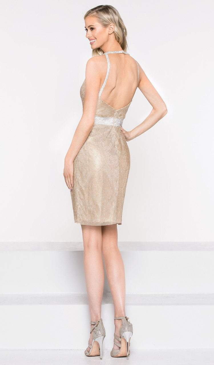 Colors Dress - 2026 Metallic Halter Fitted Cocktail Dress in Gold and Silver