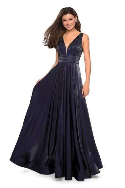 La Femme - Illusion Plunging V Neck Two Toned Satin A-Line Gown 27205 In Blue