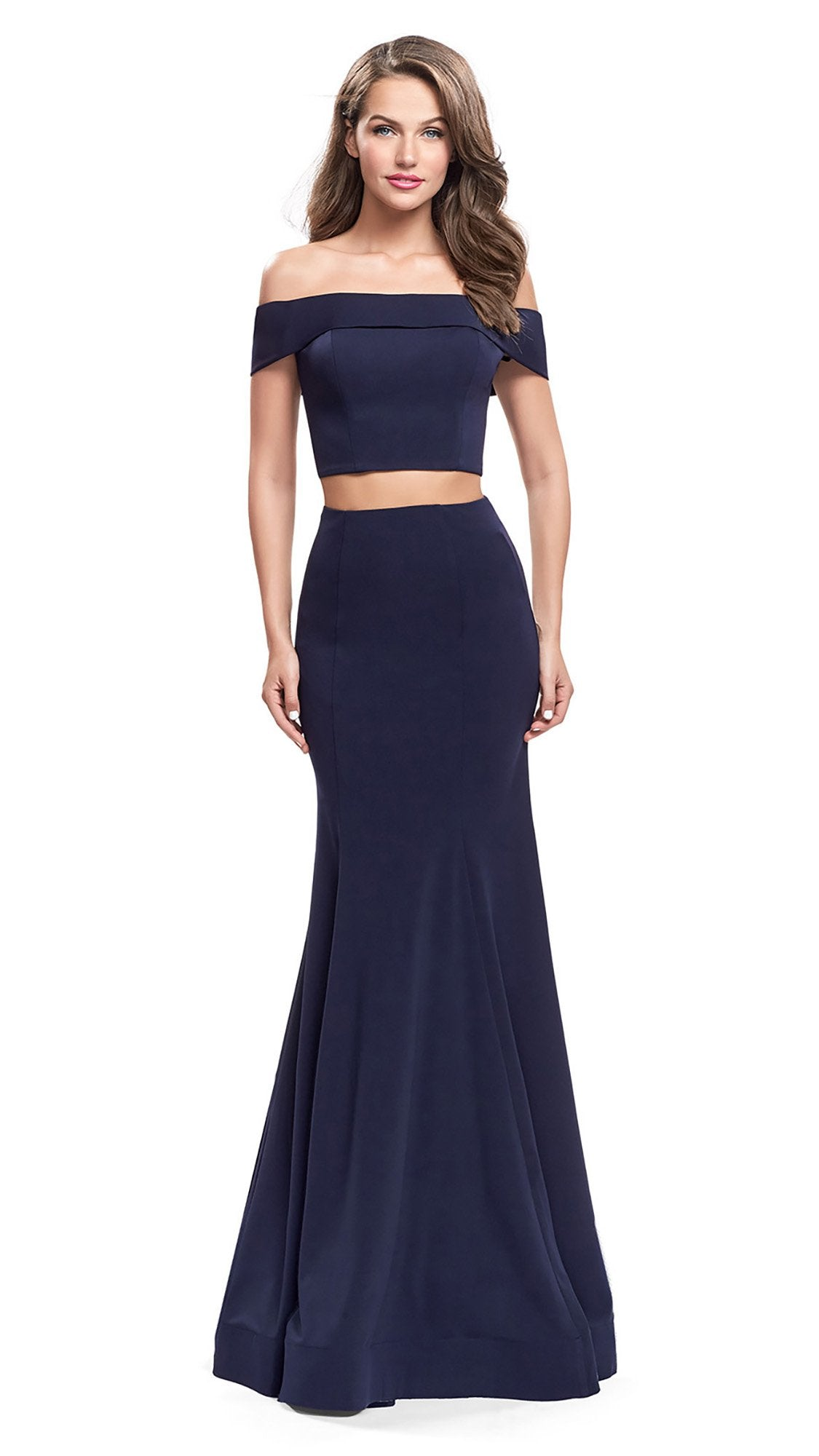 La Femme Two-Piece Fold-Over Off Shoulder Jersey Gown 25578 In Blue