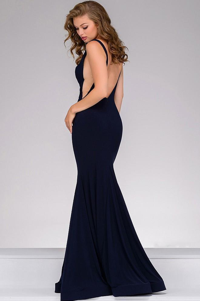 Jovani - Open Back Long Jersey Dress 47100 in Blue