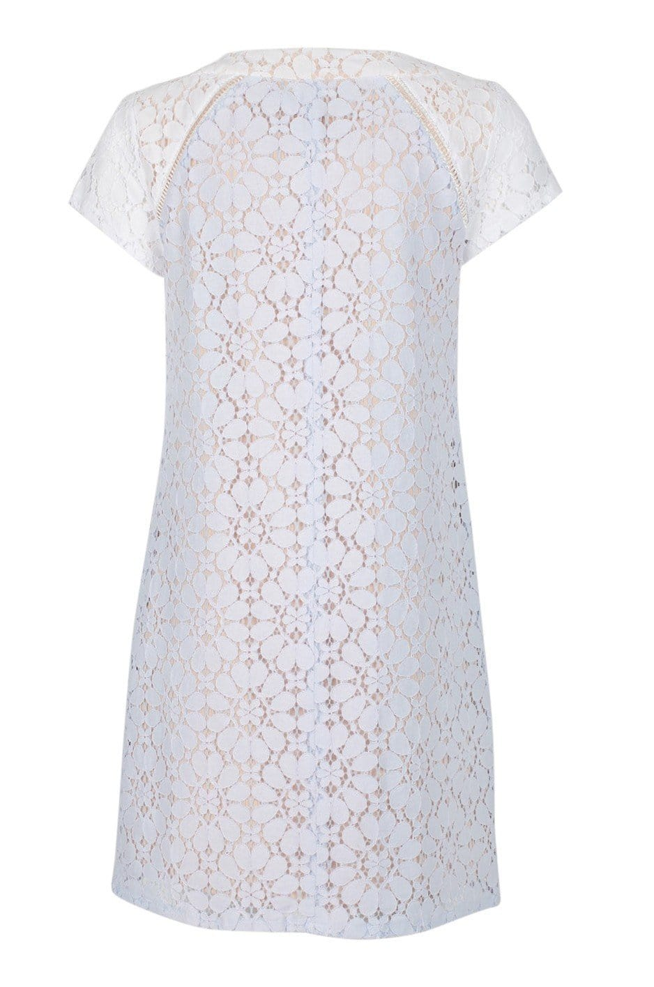 Nanette Nanette Lepo - ND8S130A3 Floral Lace Scoop A-line Dress In White