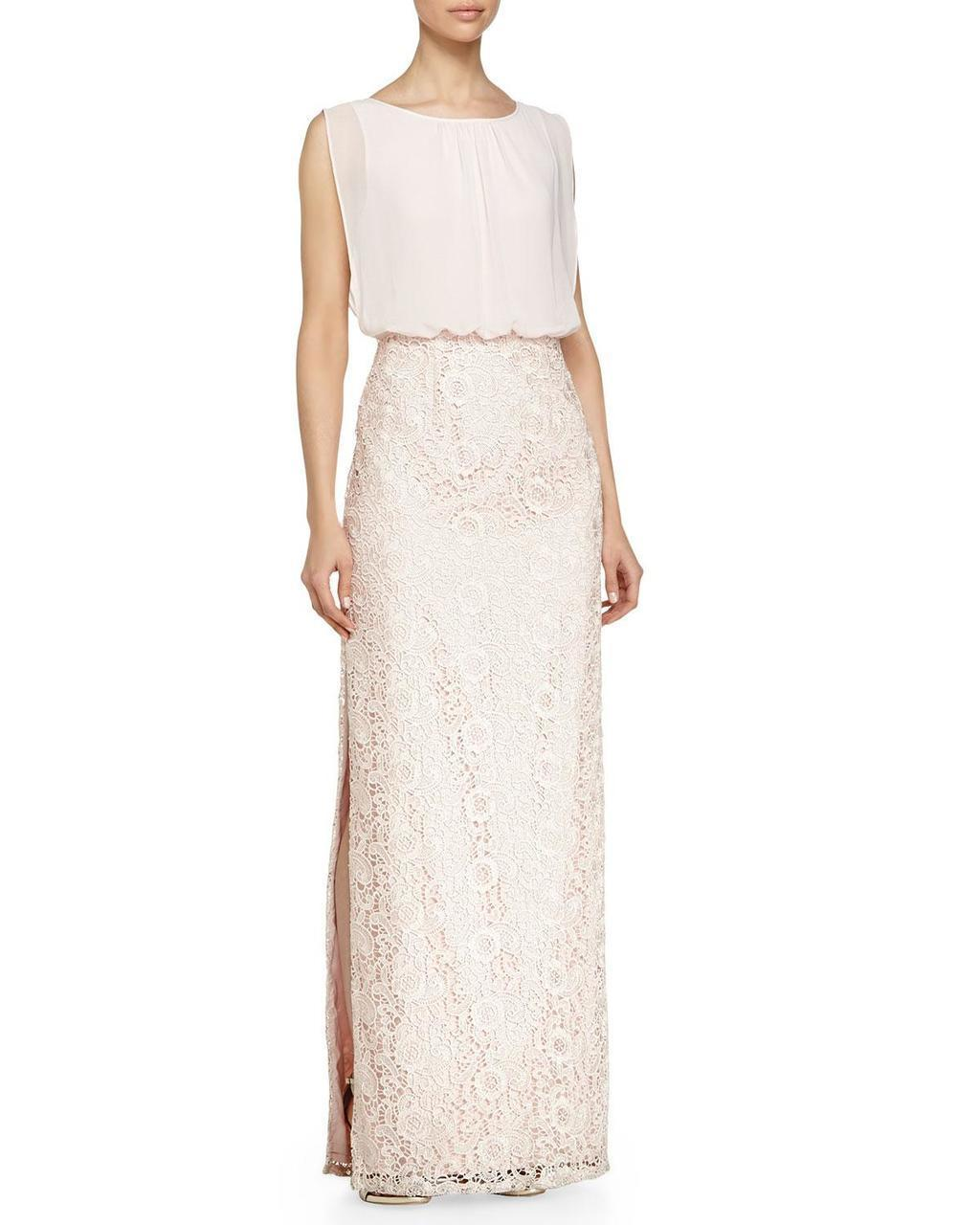 Aidan Mattox - 251704760SC Blouson Laced Long Dress with Slit