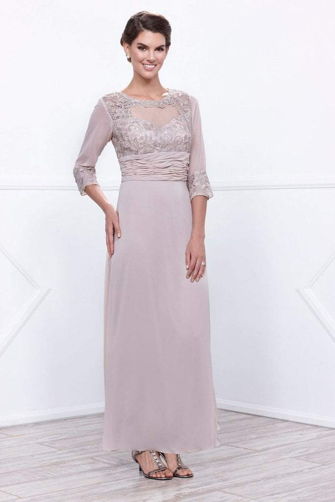 Nox Anabel - 5101 Quarter Length Sleeves Empire Long Dress in Neutral