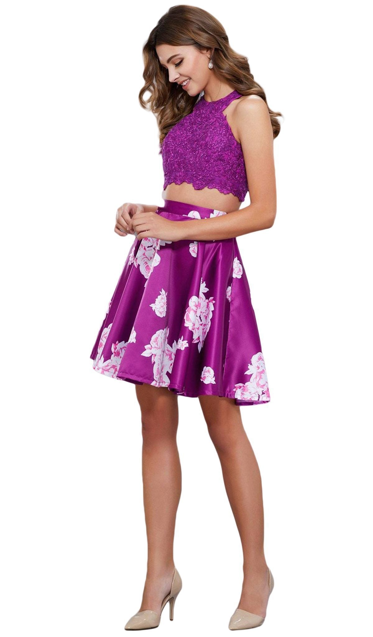 Nox Anabel - Two-Piece Lace And Floral Cocktail Dress 6219SC