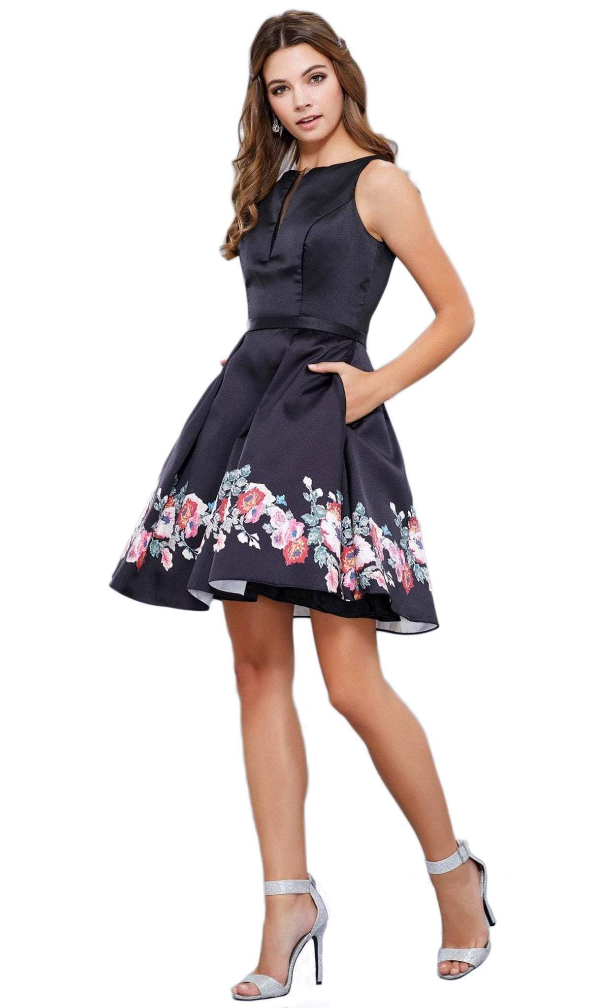 Nox Anabel - Bateau Floral-Printed Cocktail Dress 6233SC