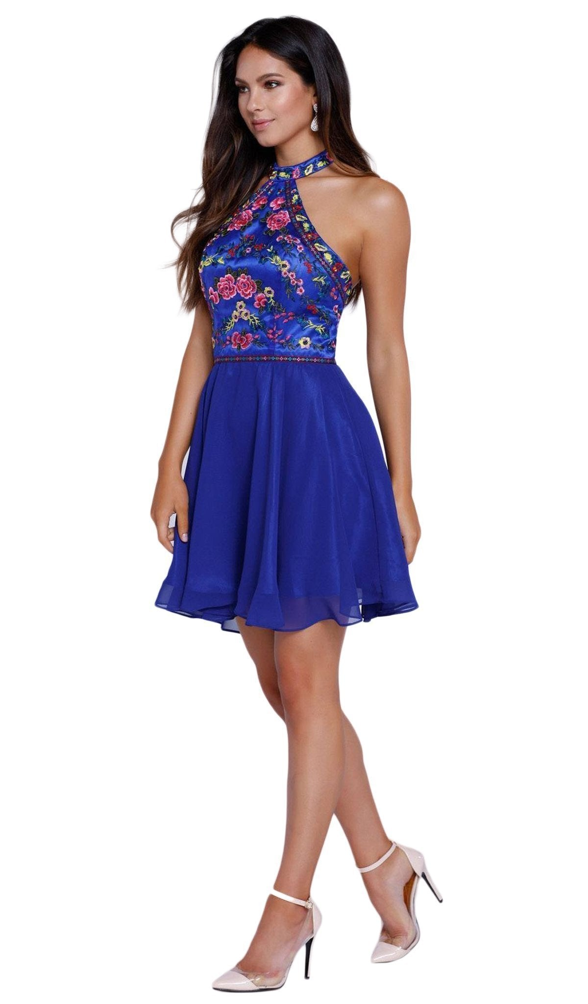 Nox Anabel - Embroidered Halter Chiffon A-line Dress 6235SC