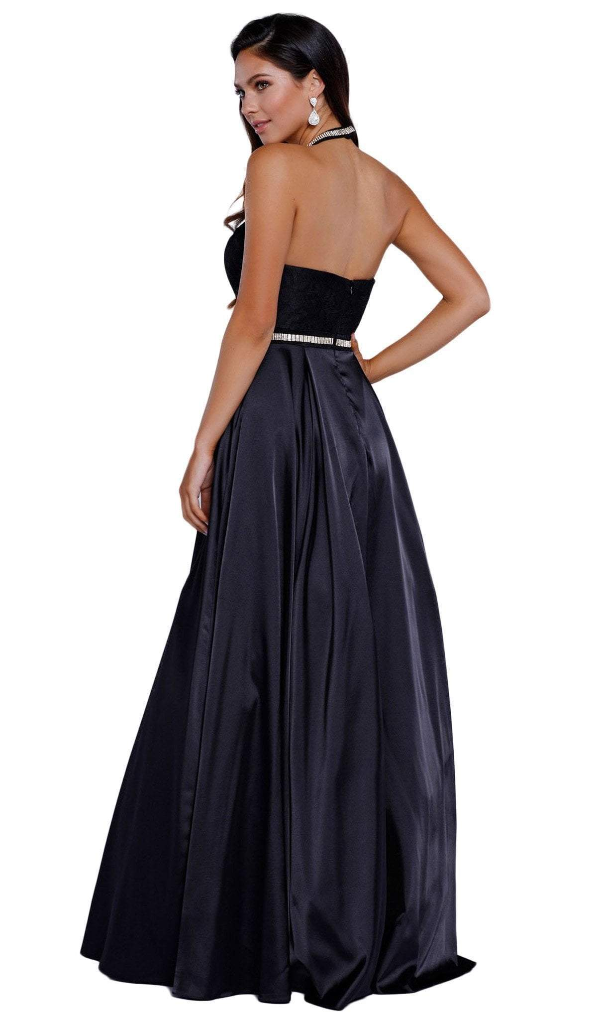 Nox Anabel - Embroidered Halter Neck A-Line Gown 8198SC