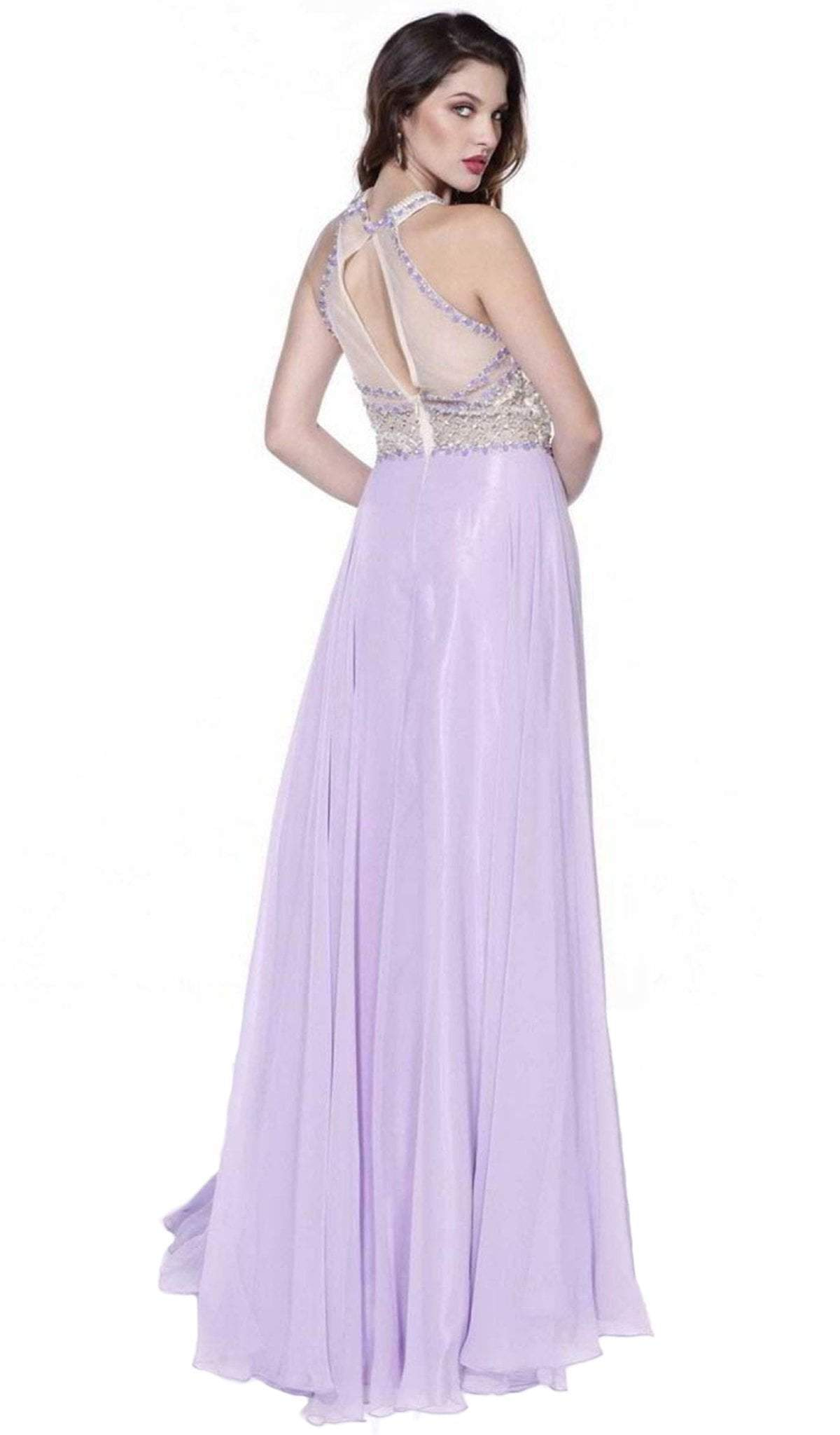 Nox Anabel - Beaded Halter Long Gown 8201SC