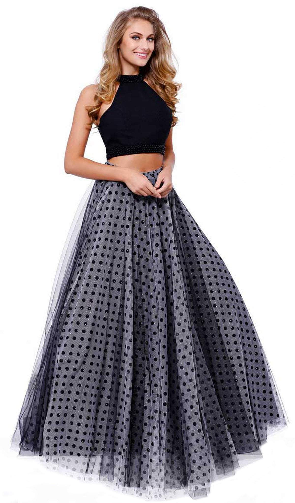 Nox Anabel - Two-Piece Halter Polka Dot Printed Gown 8204SC