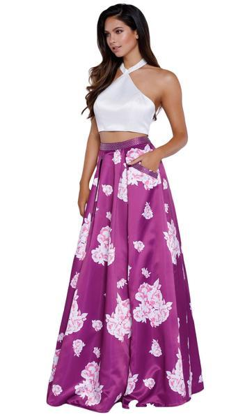 Nox Anabel - Two-piece Floral Halter A-line Evening Dress 8245 - 1 pc Floral Patterns In Size L Available In Purple And White