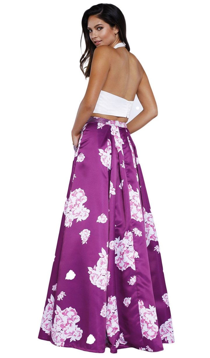 Nox Anabel - 8245SC Floral Printeed Two Piece Halter A-line Dress