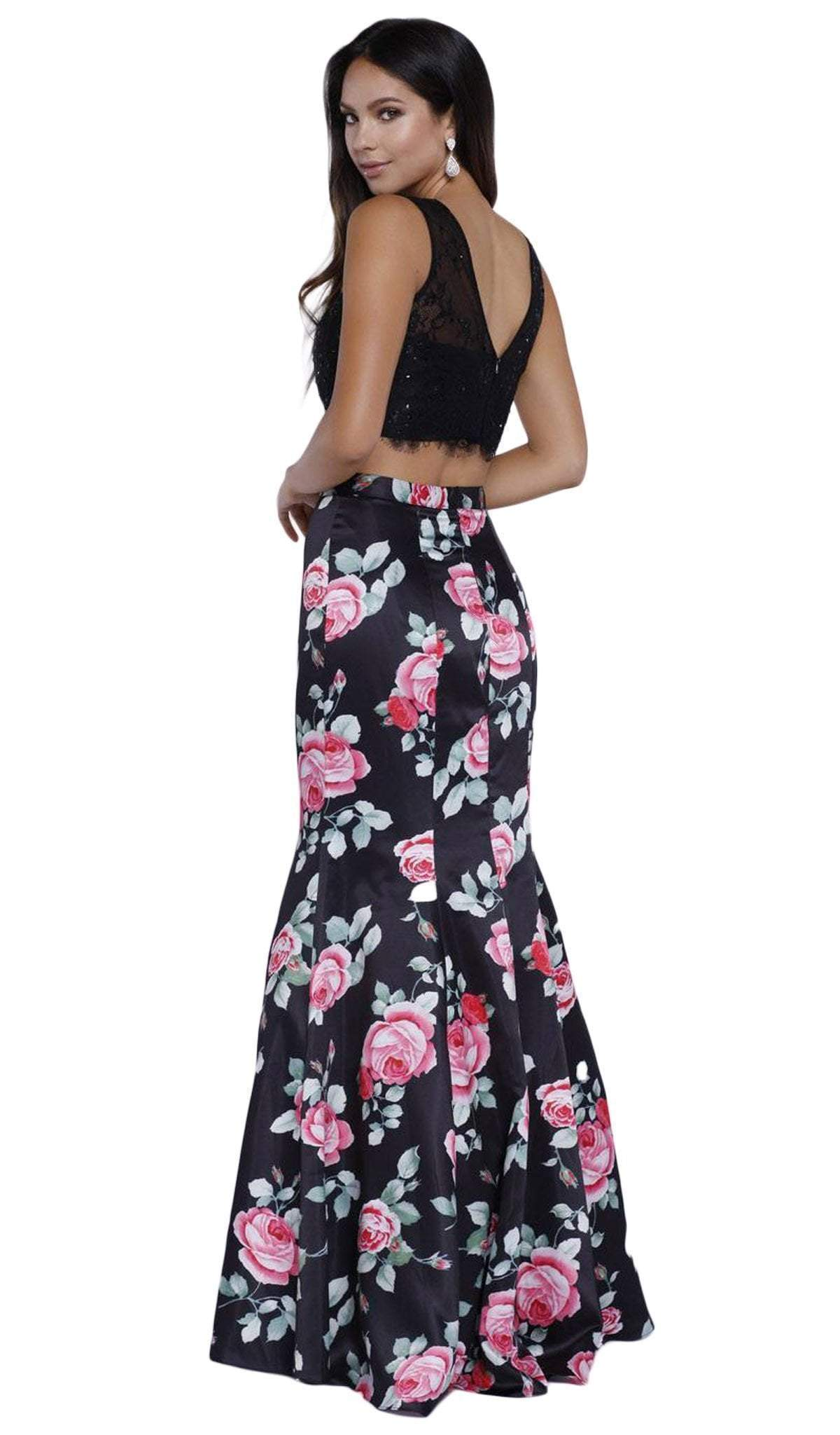 Nox Anabel - Lace And Floral Mermaid Evening Dress 8268SC