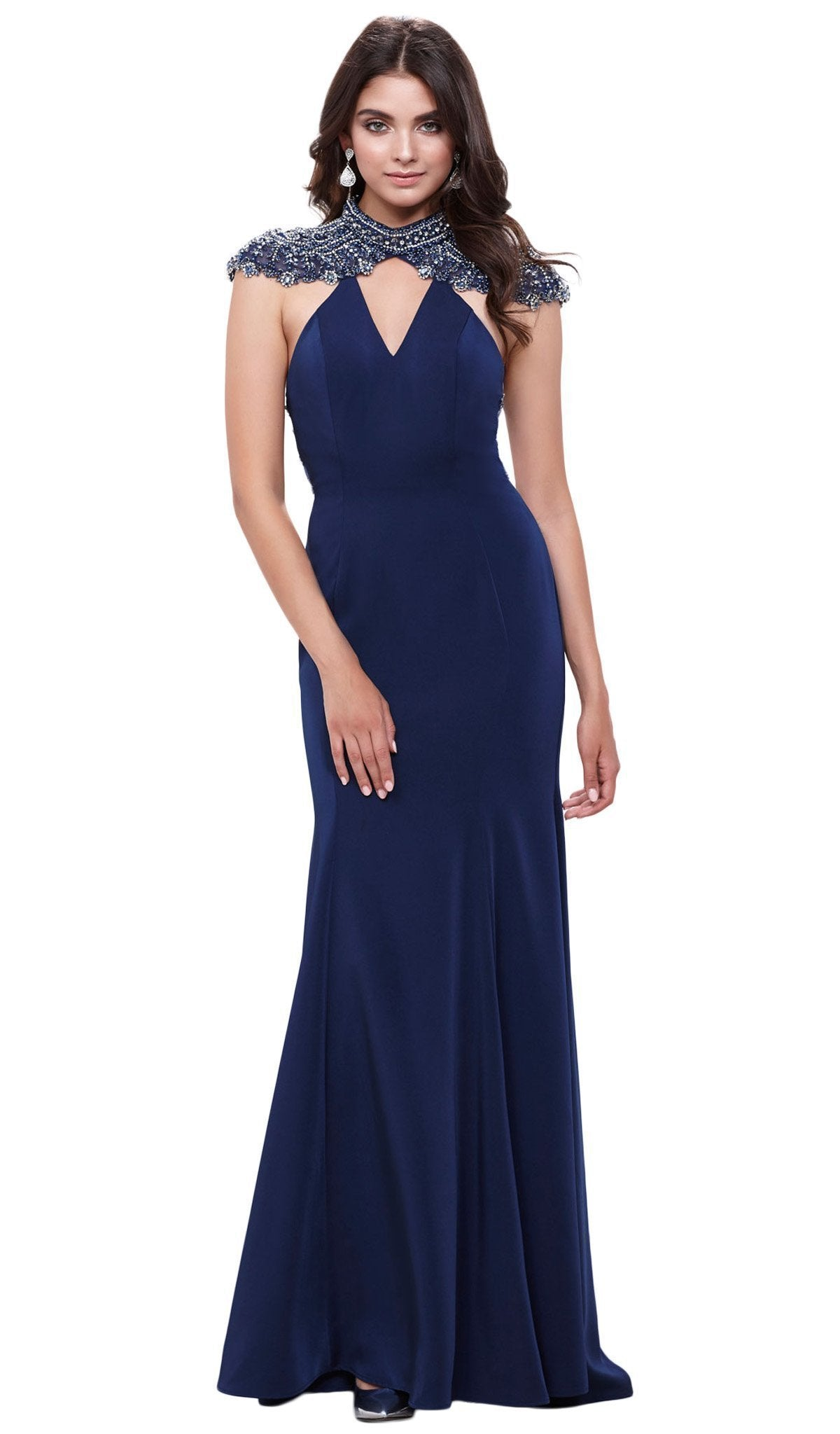 Nox Anabel - Beaded High Jewel Neck Gown 8293SC