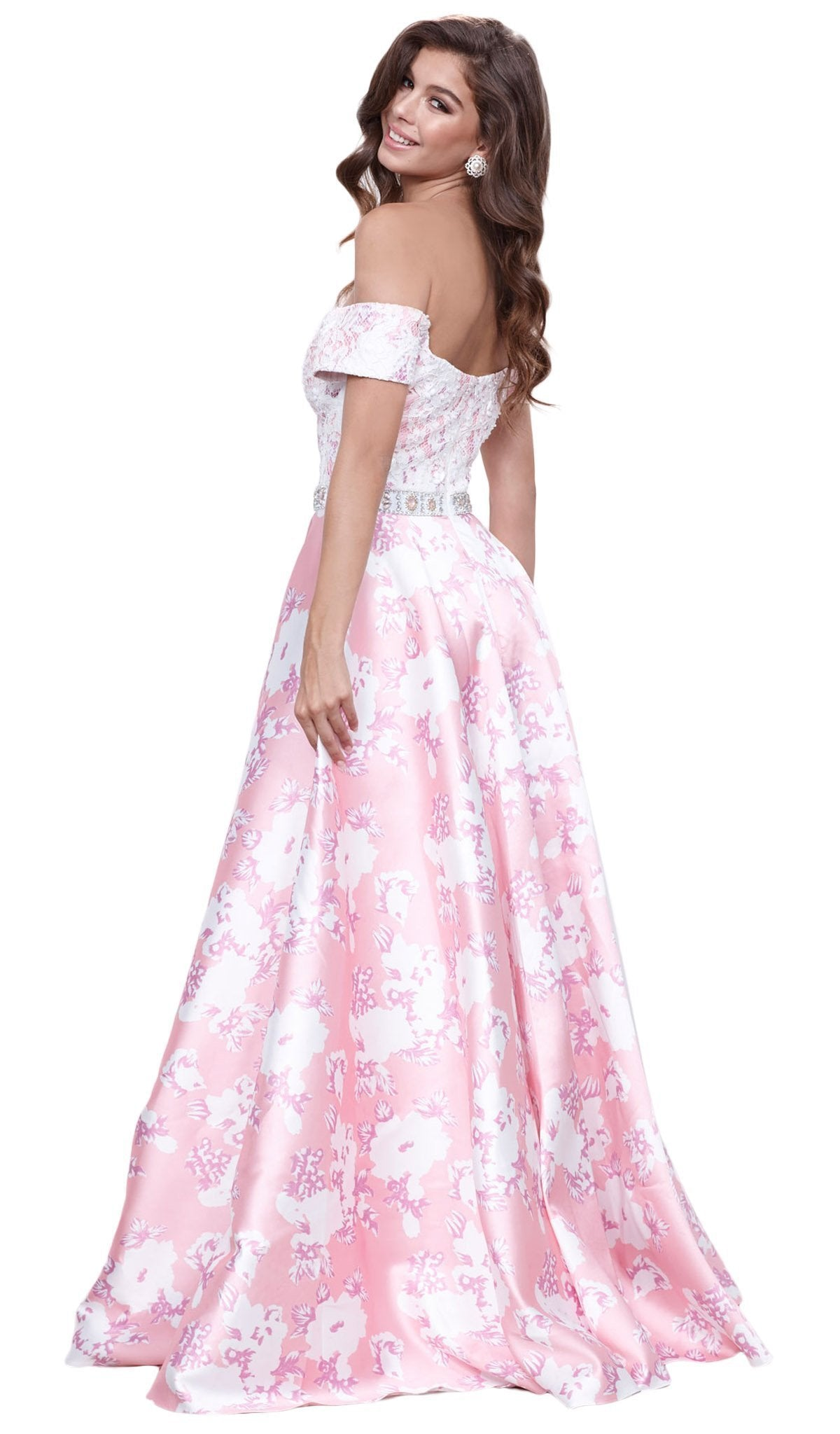 Nox Anabel - Lace Off Shoulder Floral A-Line Gown 8301SC