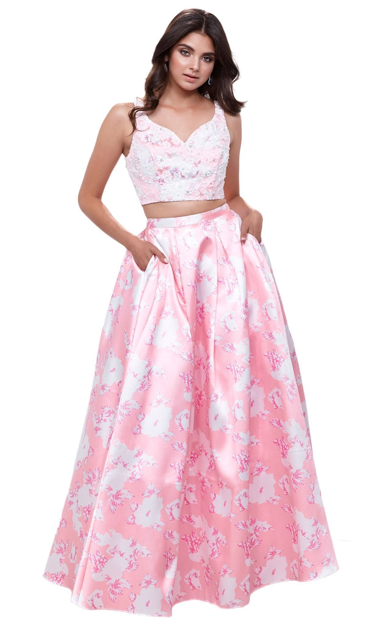 Nox Anabel - Two-Piece Floral A-line Evening Gown 8312SC