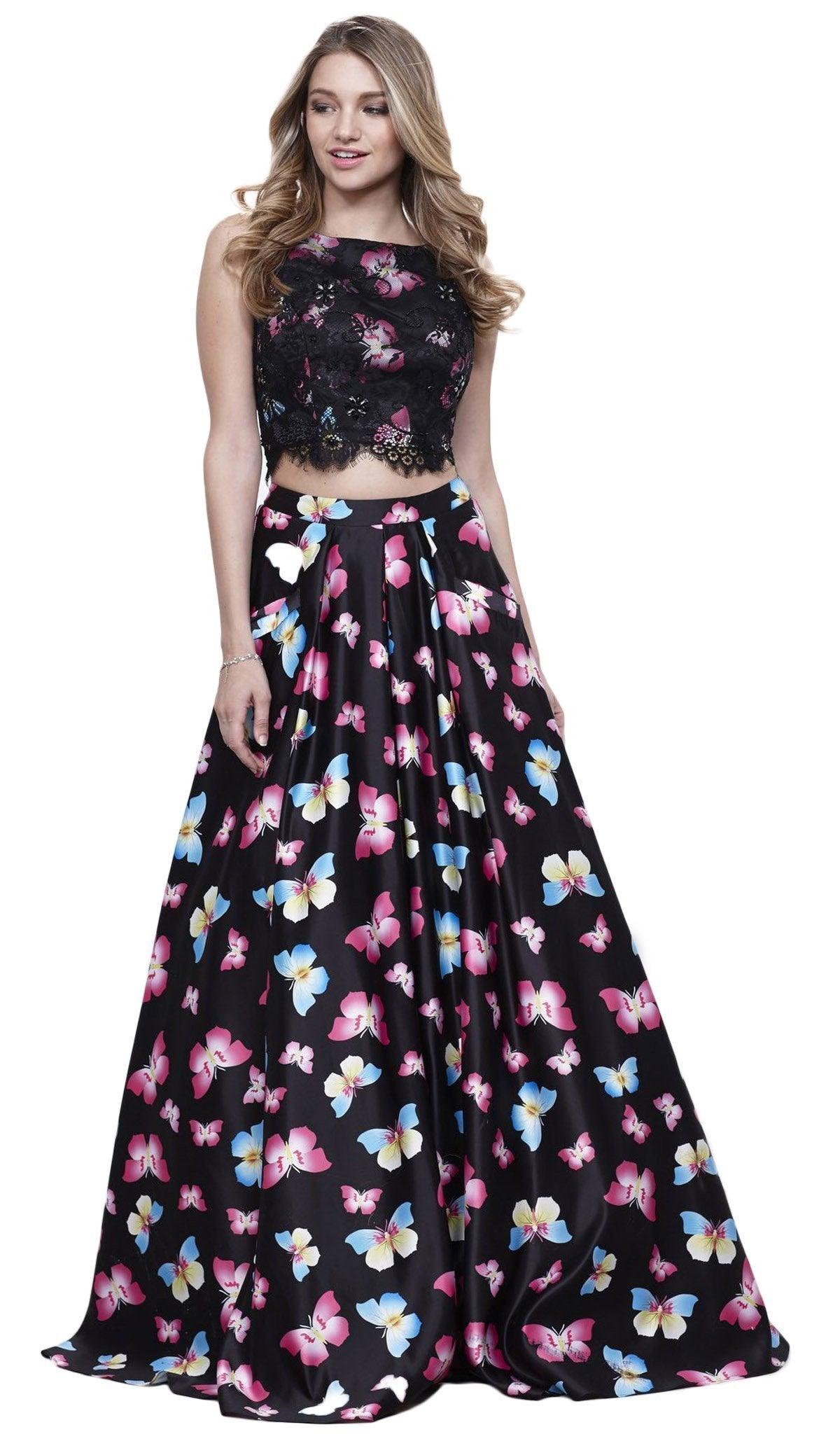 Nox Anabel - Two-Piece Butterfly Printed Evening Gown 8336SC