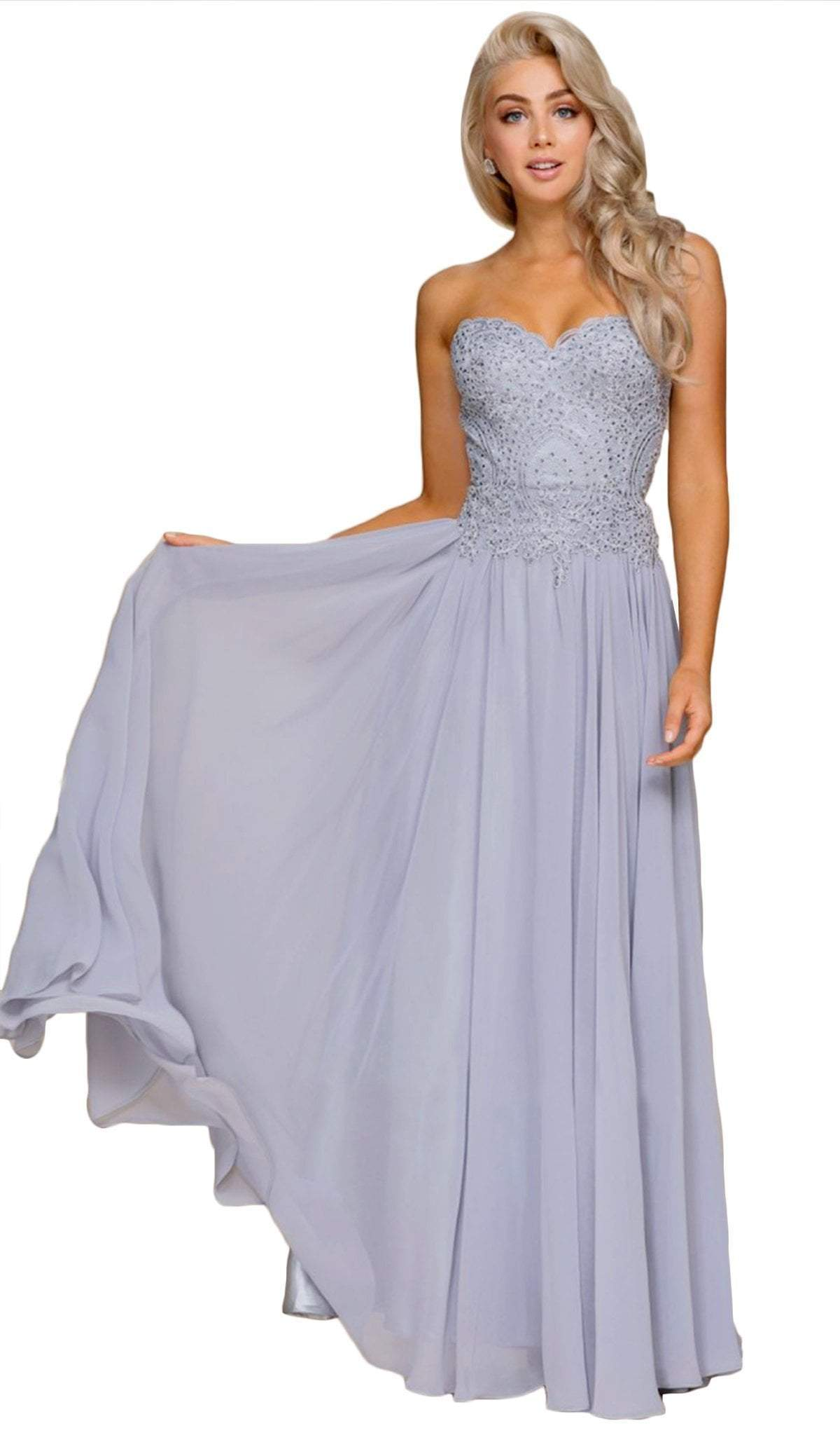 Nox Anabel - Beaded Sweetheart Chiffon A-line Dress B045SC