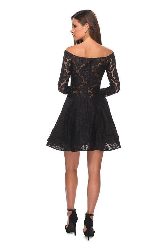 La Femme - Long Sleeve Off-Shoulder Lace Dress 28175 In Black
