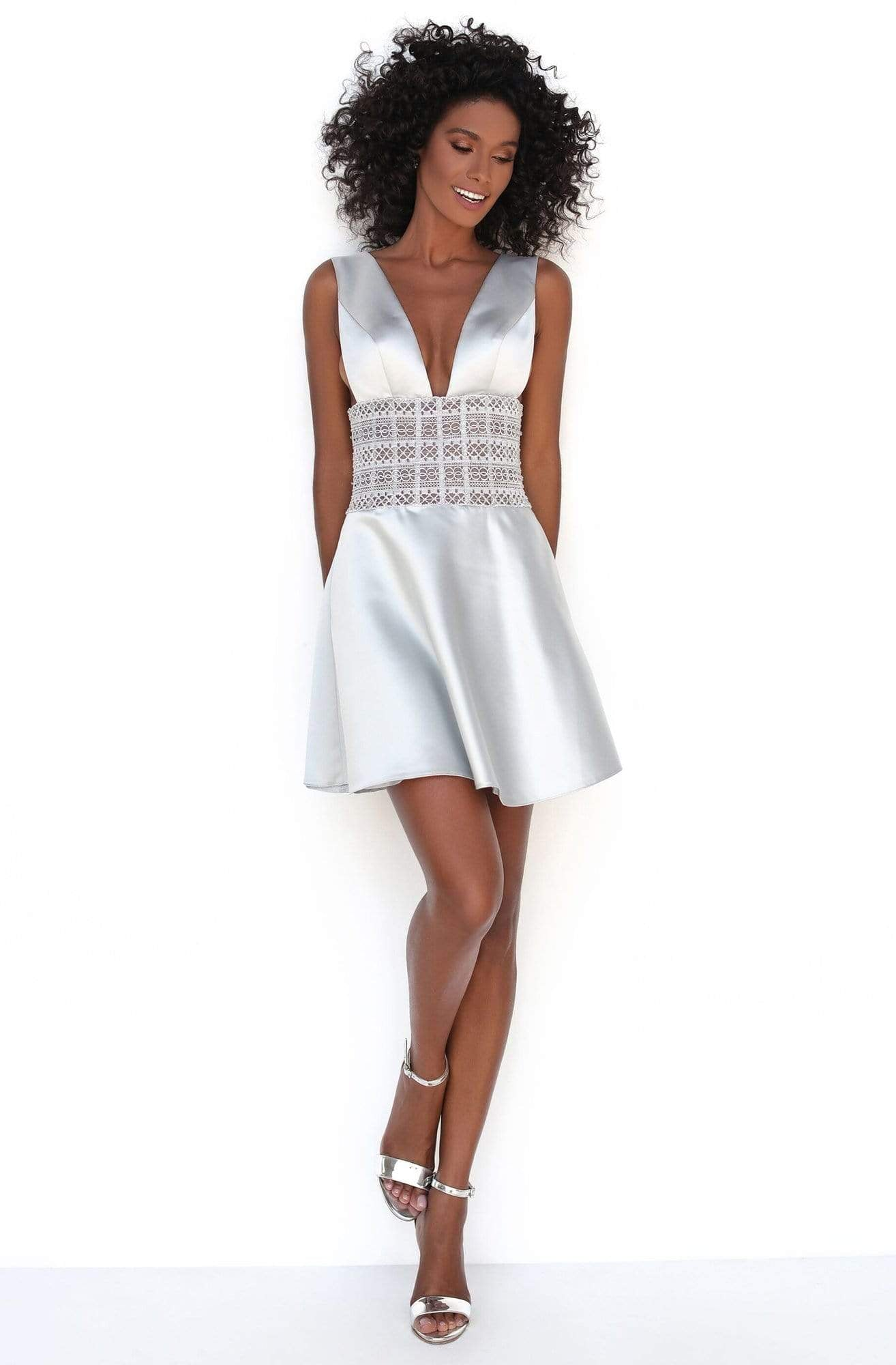 Tarik Ediz - 50615 Strappy Plunging V-Neck Short Dress Homecoming Dresses