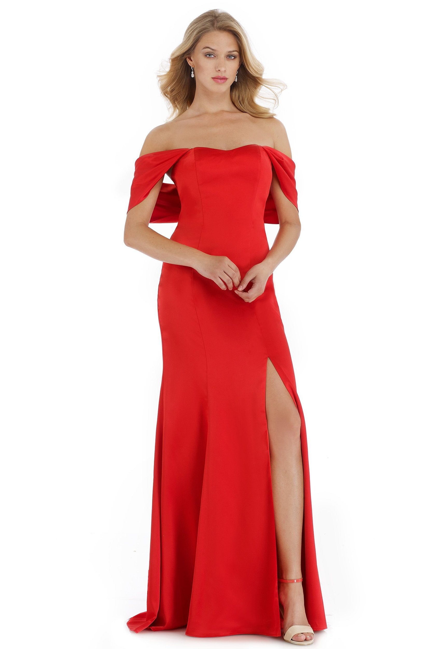 Morrell Maxie - 16014 Off-Shoulder Satin Charmeuse Trumpet Dress in Red