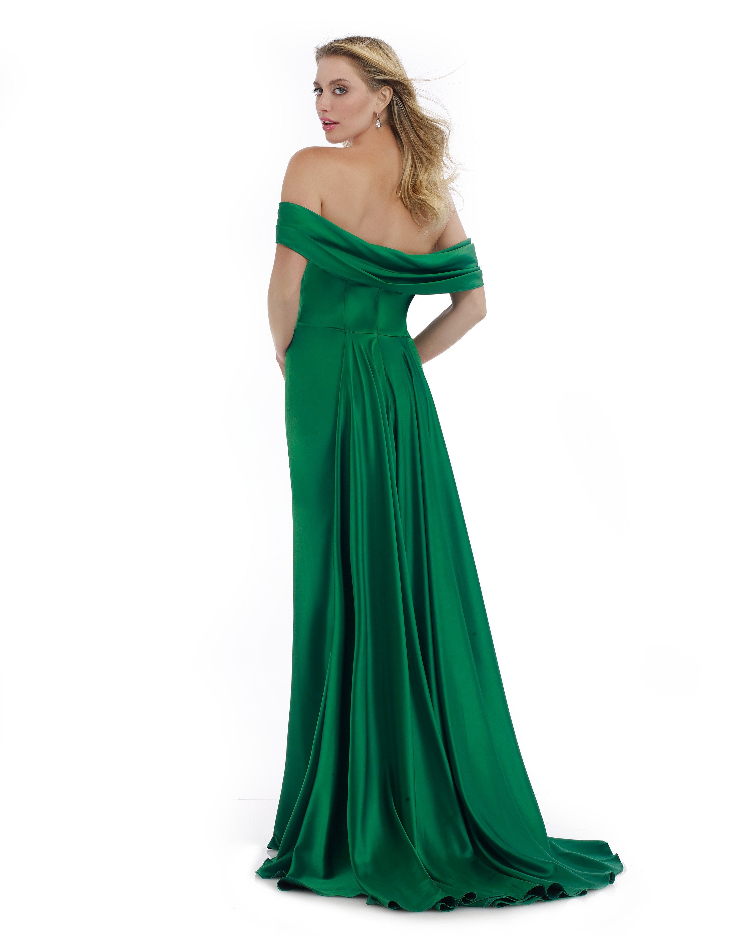 Morrell Maxie - 16014 Off-Shoulder Satin Charmeuse Trumpet Dress in Green