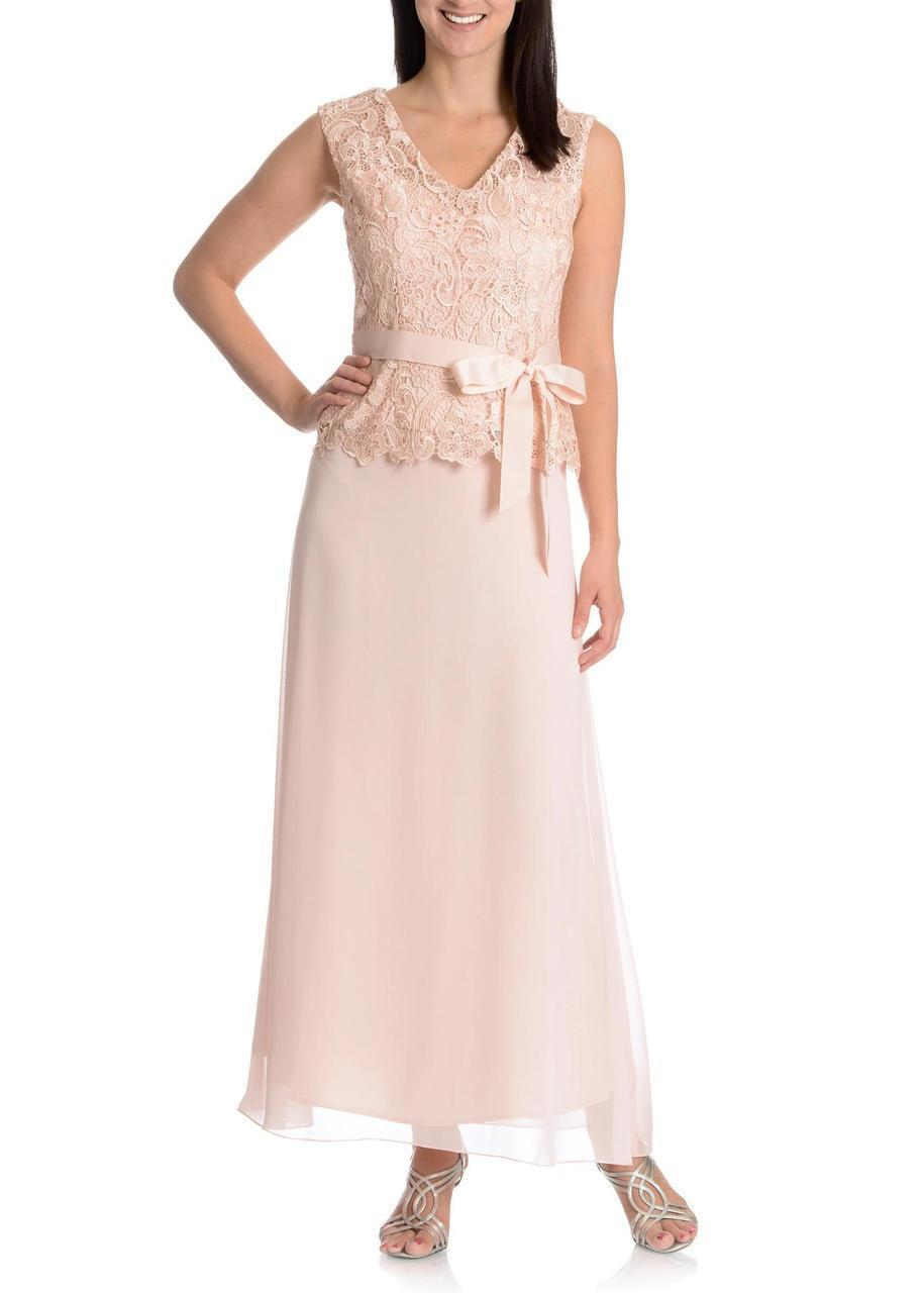 Patra - Lace Embellished Bow Evening Dress in Pink